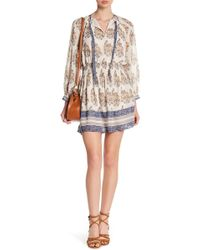 Lucky Brand - Printed Drop Waist Boho Dress - Lyst