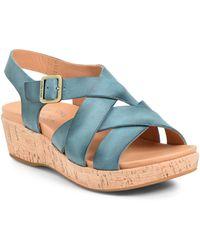 Kork-Ease Caroleigh Leather Wedge Sandal - Blue