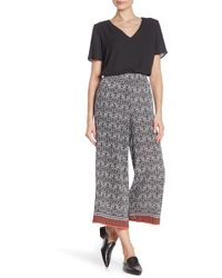 Max Studio High Waisted Patterned Crepe Culotte Pants - Multicolor