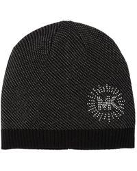 MICHAEL Michael Kors Studded Logo Knit Beanie - Black