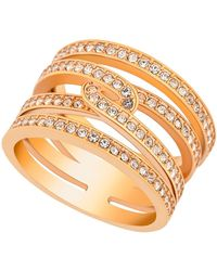 Swarovski - Rose Gold Plated Embellished Crystal Pave Ring - Lyst