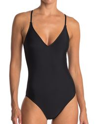 VYB V-neck One-piece Swimsuit - Black