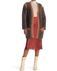 M Missoni Wool Blend Plush Coat - Brown