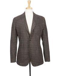 Boga - Tobacco & Charcoal Plaid Notch Lapel Modern Fit Wool Blazer - Lyst