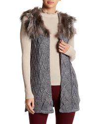 Love Token | Genuine Fox Fur Trim Knit Cardigan | Lyst