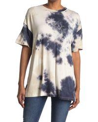 Lush Crew Neck Short Sleeve Tie Dye Print T-shirt - Blue