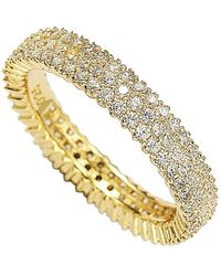 Suzy Levian 14k Yellow Gold Plated Micro-pave White Cz Eternity Band Ring