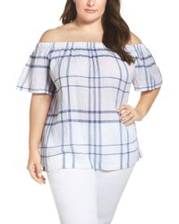 Two By Vince Camuto Vince Camuto Timeless Plaid Off The Shoulder Blouse - Blue