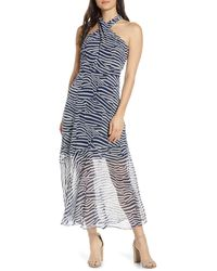 Sam Edelman Printed Illusion Dress - Blue