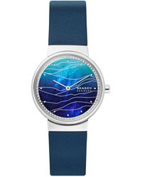 Skagen Annelie 2-hand Blue Leather Watch