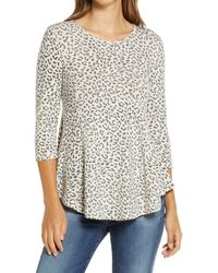 Bobeau Cheetah Print Babydoll Knit Top - Black