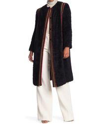 M Missoni Wool Blend Stripe Trim Coat - Black