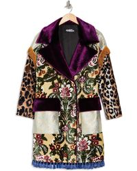 Jeremy Scott Mixed Print Faux Fur Trim Coat - Multicolor