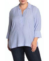 Workshop Pinstripe Tunic Shirt (plus Size) - Blue