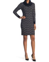 T Tahari Cowl Neck Chevron Print Sweater Dress - Black
