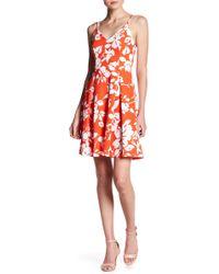 Soprano Floral Skater Dress - Red