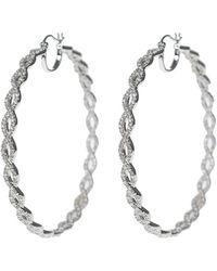 Kenneth Jay Lane - Pave Inside Out Infinity Twist Cz 63mm Hoop Earrings - Lyst
