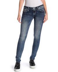 Rock Revival Embellished Skinny Jeans - Blue