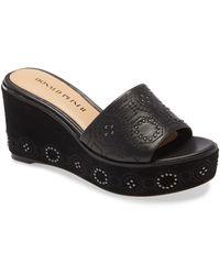 Donald J Pliner Indie Studded Platform Wedge Sandal - Black