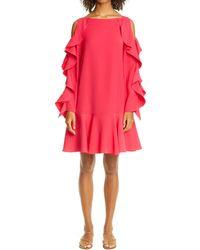 ADEAM - Cold Shoulder Ruffle Long Sleeve Crepe Dress - Lyst