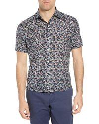 Culturata Trim Fit Print Cotton & Silk Sport Shirt - Blue
