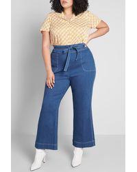ModCloth Denim Daydream Wide Leg Jeans - Blue