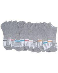 Fila Striped No Show Socks - Pack Of 10 - Gray