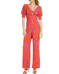 Harlyn Printed Double V Front Jumpsuit - Red
