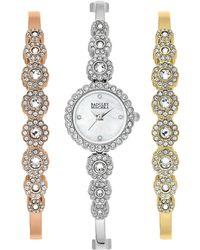 Badgley Mischka Women's Quartz Swarovski Crystal Bangle Bracelet Watch, 20mm - Metallic