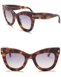 afa91cf883b Tom Ford - Karina Polarized 47mm Cat Eye Sunglasses - Lyst