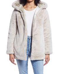 Save The Duck Waterproof Reversible Hooded Faux Fur Coat - Natural