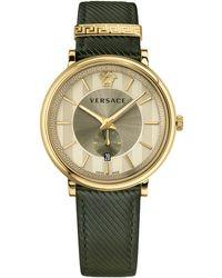 Versace Men's Manifesto Leather Watch, 42mm - Metallic