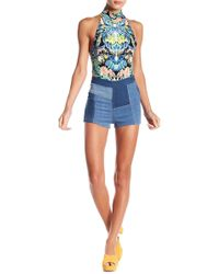 Free People - Patchwork High Waist Shorts - Lyst