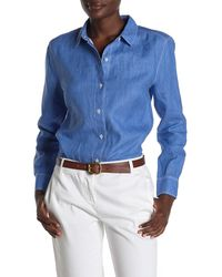Tommy Bahama Sea Glass Breezer Linen Boyfriend Shirt - Blue