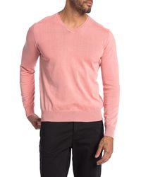 RAFFI V-neck Knit Sweater - Pink