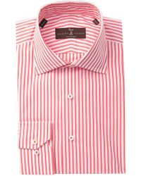 Robert Talbott Striped Tailored Fit Dress Shirt - Pink