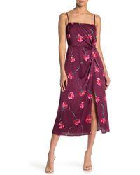 Lush Floral Twist Slit Satin Midi Dress - Multicolor