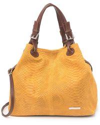 Luisa Vannini Snakeskin Embossed Suede Tote Bag In Cognac At Nordstrom Rack - Multicolor