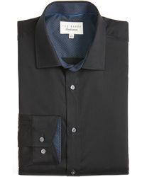 Ted Baker Caramor Trim Fit Solid Dress Shirt - Black