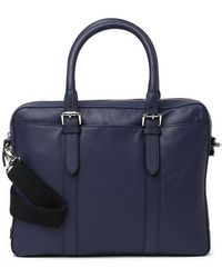 Cole Haan Smooth Leather Attache Case - Blue