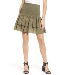 Rebecca Minkoff Amari Smocked Tiered Ruffle Skirt - Green
