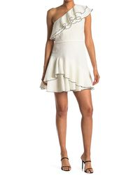 Halston - One Shoulder Ruffle Detail Dress - Lyst