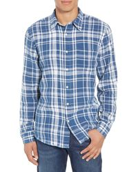 FRAME Slim Fit Indigo Plaid Sport Shirt - Blue