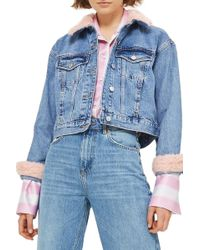 TOPSHOP - Tilda Faux Fur Crop Denim Jacket - Lyst