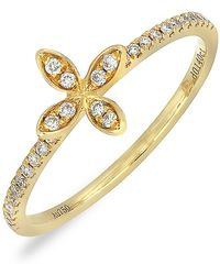 Bony Levy - 18k Yellow Gold Diamond Flower Station Ring - 0.14 Ctw - Lyst