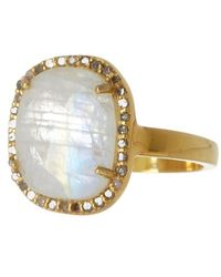 Adornia Gold-tone Sterling Silver Rose Cut Moonstone & Diamond Halo Ring - 0.40 Ctw - Yellow