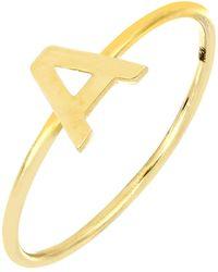 Bony Levy 14k Yellow Gold Initial Ring - Metallic