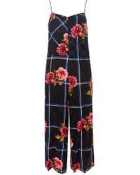 TOPSHOP - Check Floral Jumpsuit - Lyst