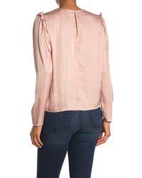 Lush Long Sleeve Satin Top - Pink