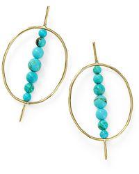 Ippolita Nova 18k Yellow Gold Turquoise Green Matrix Beaded Spike Circle Drop Earrings - Metallic